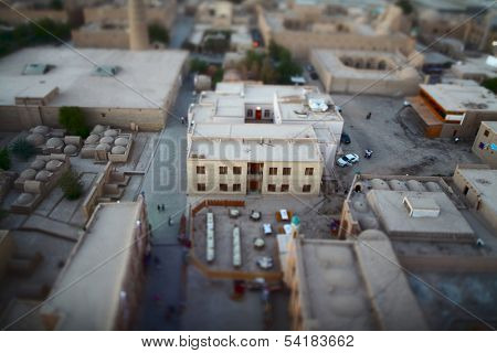 The streets of an ancient town of Itchan Kala. The city of Khiva, Uzbekistan. Blurred edges and sharp center - tilt shift lens used