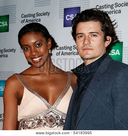 NEW YORK-NOV 18; Actors Condola Rashad (L) and Orlando Bloom attend the CSA 29th Annual Artios Awards ceremony at the XL Nightclub on November 18, 2013 in New York City.