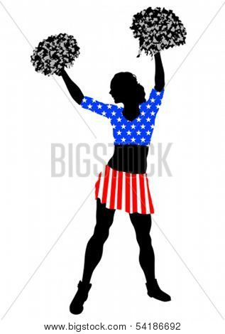 Cheerleader girl in dress from American flag on white background. Property release is attached to the file