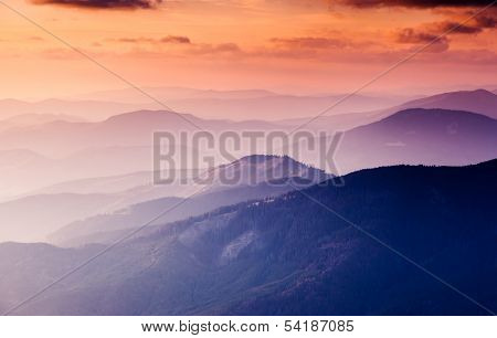 Fantastic morning mountain landscape. Carpathian, Ukraine, Europe. Beauty world.