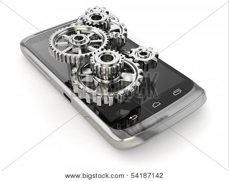 Settings of mobile phone. Gears on the screen. 3d