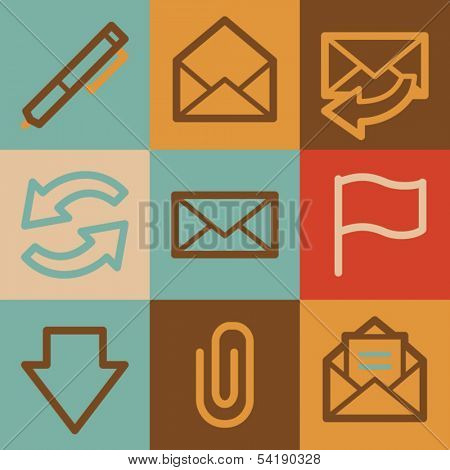 E-mail web icons, vintage series