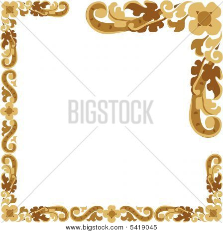 Floral Frame Baguette Retro Illustration