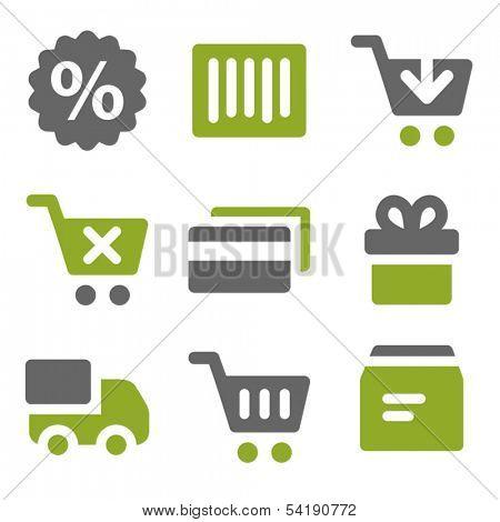 Shopping web icons set, kiwi series