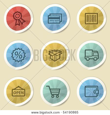 Shopping web icons, color vintage stickers