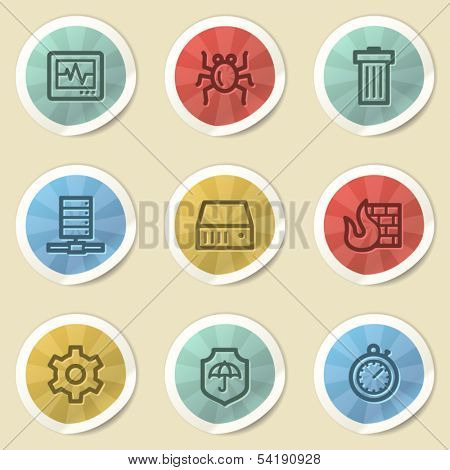 Internet security web icons, color vintage stickers
