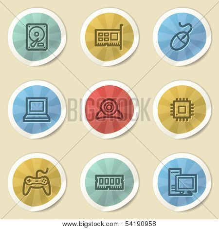 Computer storage web icons, color vintage stickers