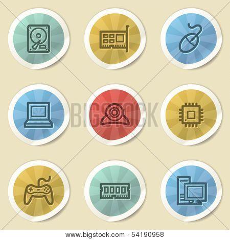 Computer storage web icons, color vintage stickers