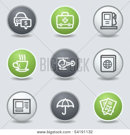 Travel web icons set 4, circle buttons