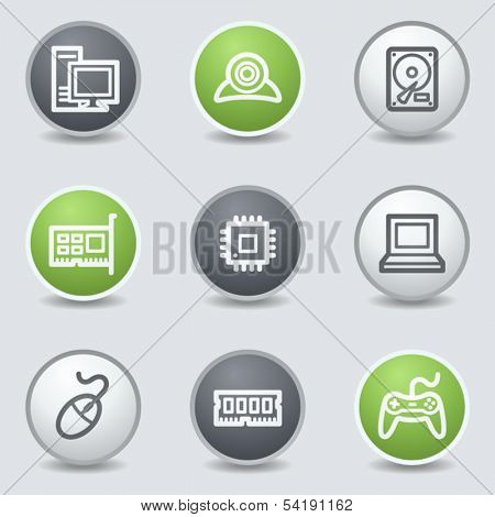 Computer web icons, circle buttons