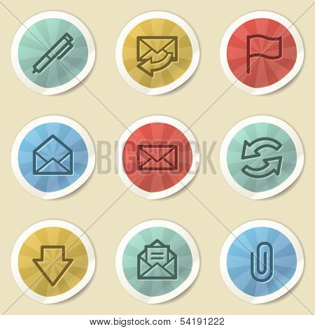 E-mail web icons, color vintage stickers