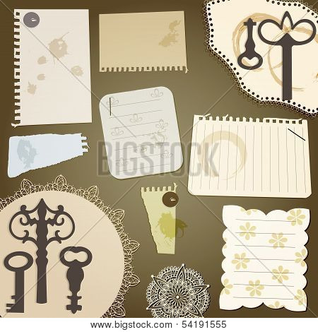 Vector Scrapbook Design Elements: Vintage Key, Torn Pices Of Paper, Splashes Of Coffee, Napkins