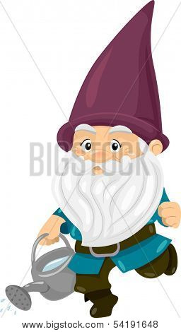 Illustration of a Gnome Carrying a Water Can Full of Water