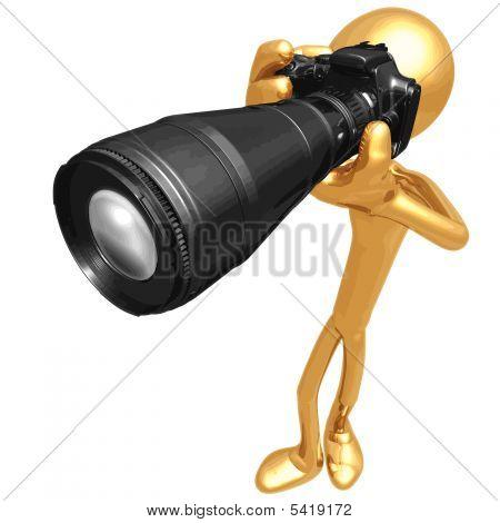 Vector 3D oro Guy fotógrafo