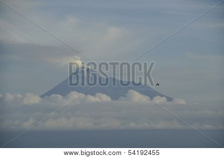 Active Volcano Mt. Merapi at Sunrise
