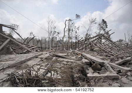 Houses Damaged by Mount Merapi Eruption