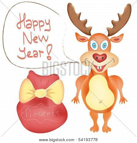 New Year Holiday Greeting Card With Deer Cute Cartoon Character And Presents Bag On White Background