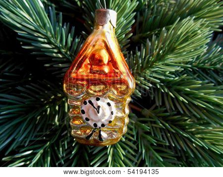 Christmas and New Year decoration gold watch