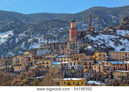 Small french town of Tende on the mountains slope in Alps, France.