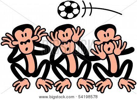 Three wise monkeys celebrating soccer