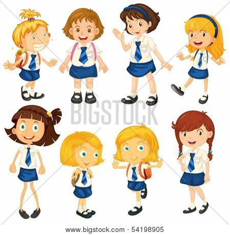Illustration of the eight schoolgirls in their uniforms on a white background