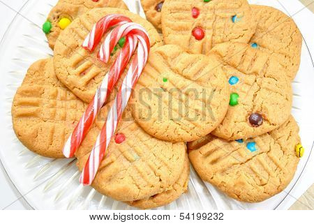 Two Candy Canes on Cookies