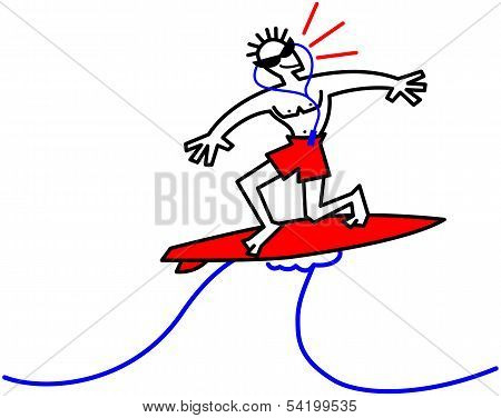 Cool surfer riding a wave