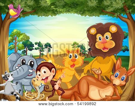 Illustration of a group of animals relaxing under the tree