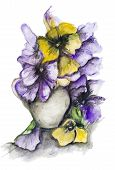 foto of tragic  - Tragic dark dramatic bouquet of violet and yellow pansies isolated - JPG