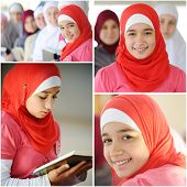 picture of muslimah  - Happy muslim and Arabic girls learning together in group - JPG