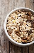 muesli on wooden background