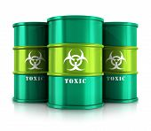 stock photo of radioactive  - Creative abstract poisonous and dangerous materials disposal and utilization industry concept - JPG
