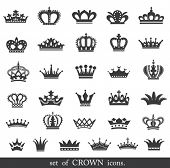 picture of vintage jewelry  - Set of vector crown icons - JPG