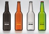 stock photo of bottles  - blank glass beer bottle for new design - JPG