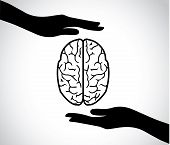 stock photo of psychology  - hand silhouettes protecting a human brain or mind  - JPG