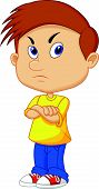pic of pouting  - Vector illustration of Angry boy cartoon isolated on white background - JPG