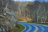 stock photo of twisty  - Winding asphalt road with autumn foliage  - JPG