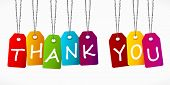 stock photo of thankful  - Thank you word colorful labels vector background - JPG