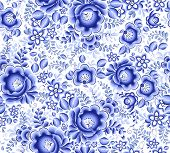 Blue floral textile vector seamless pattern