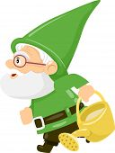 stock photo of gnome  - Illustration of a Gnome Carrying a Watering Can - JPG