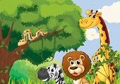 stock photo of jungle snake  - Illustration of a forest with scary wild animals - JPG