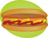 stock photo of hot dog  - Hotdog illustration sausage between buns with ketchup and mustard - JPG