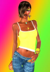image of halter-top  - A yellow halter top and low rise jeans show off this girl - JPG