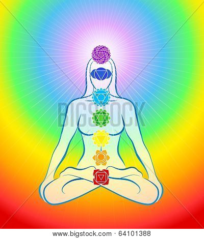 Chakras Icons Rainbow Woman