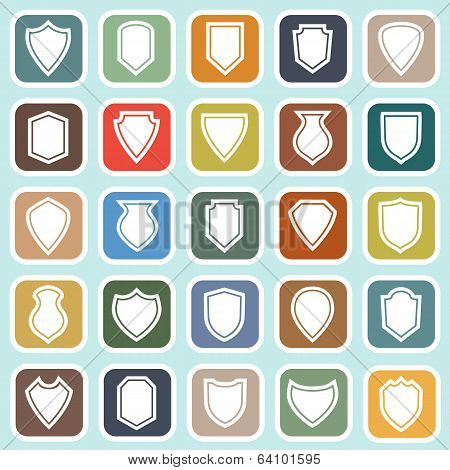 Shield Flat Icons On Blue Background