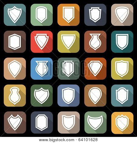 Shield Flat Icons With Long Shadow