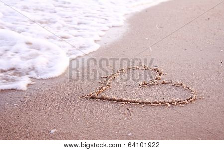 Heart In The Sand On The Seashore