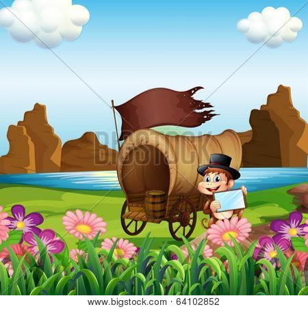 Illustration of a monkey beside the wagon at the riverbank