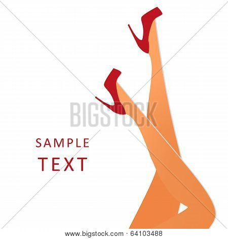 Beautiful female legs wearing red high-heeled shoes