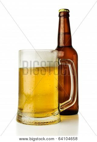 Mug Of Beer And A Bottle